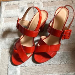J Crew Sydney Patent Sandals 7.5 in Poppy Red